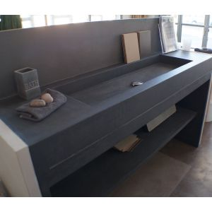meuble salle de bains béton ciré 160x50 - unnik béton - Salle De Bains Beton Cire