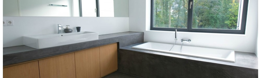 Beton cir el ments en b ton cire poursalle de bain for Element de salle de bain 5 lettres